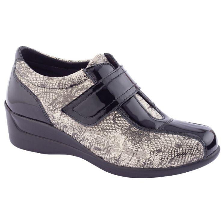 Chaussures Confort en cuir et matière extensible NEUT Pieds sensibles Femme Noir 1JbF1N5R2